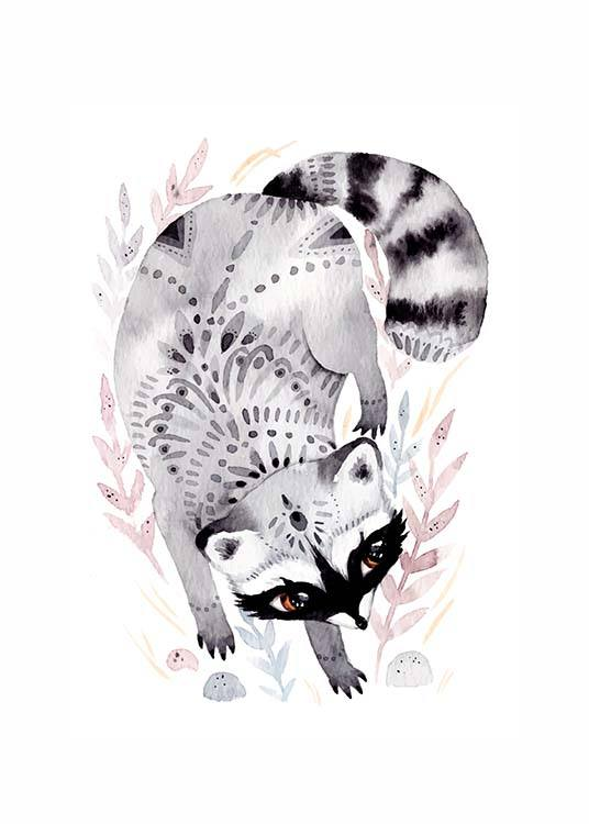 - Animal poster for children with a drawing of a raccoon on a white background.