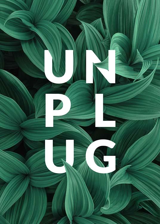 "- Reflective text poster encouraging you to ""Unplug"" on a green leaf background."