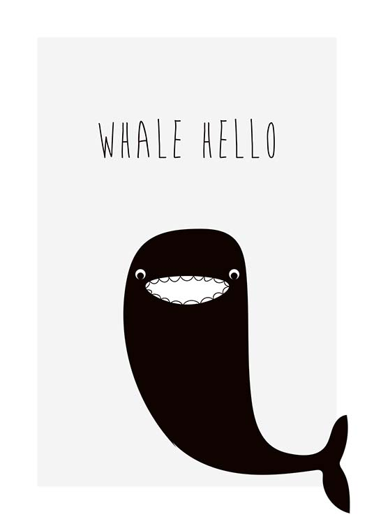 Whale Hello Poster / Kids wall art at Desenio AB (10196)