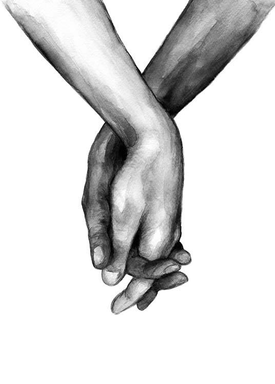 – Black and white watercolour illustration of a pair of hands holding each other