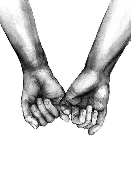 – Watercolour illustration with two hands holding their pinky fingers, drawin in black and white
