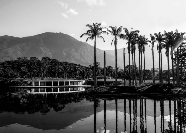 - Black and white photo poster of a lagoon surrounded by palm trees and mountains in the background.
