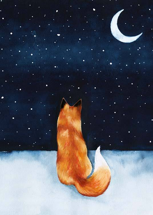 - Beautiful drawing for the children's room of a fox looking up at the starry sky