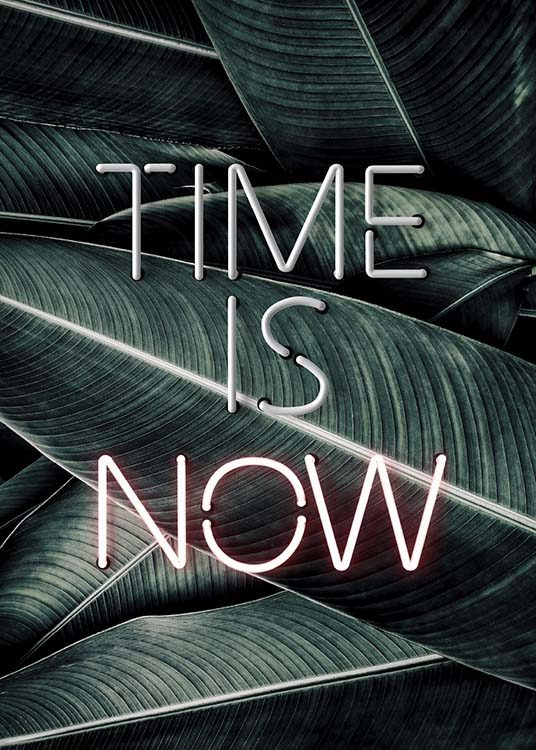 Time Is Now Neon Poster / Text posters at Desenio AB (10301)