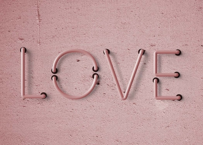 "- Pink typography poster of a switched-off neon light spelling the word ""Love"" in pink."