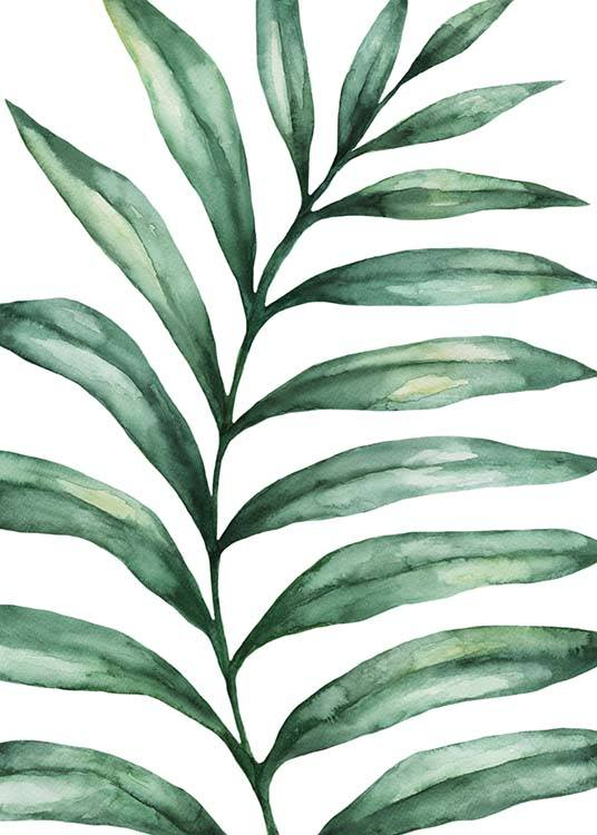 - Poster with a hand-painted watercolour motif of a leaf.