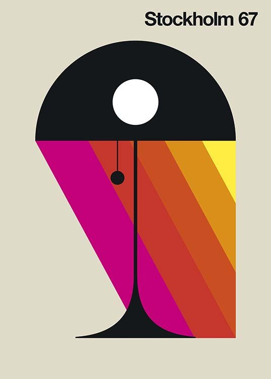 - Artful graphic poster with a bedside lamp and colourful rays of light.