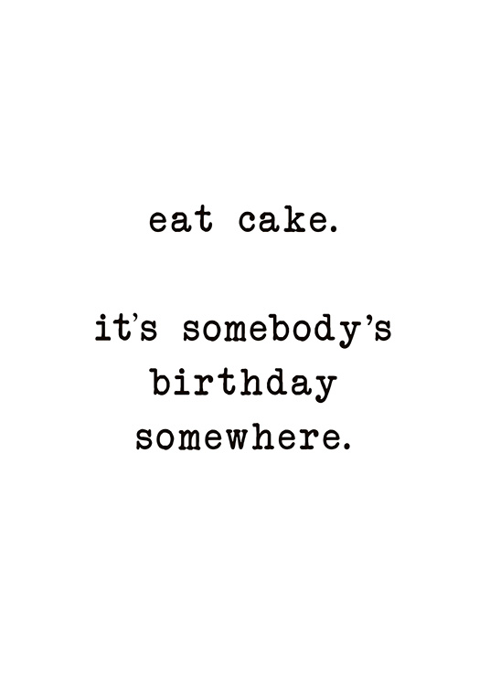 Eat Cake Poster / Text posters at Desenio AB (10622)