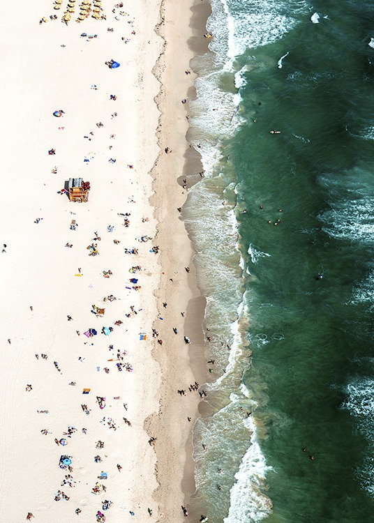 - Poster with an aerial shot of a full beach with turquoise water.
