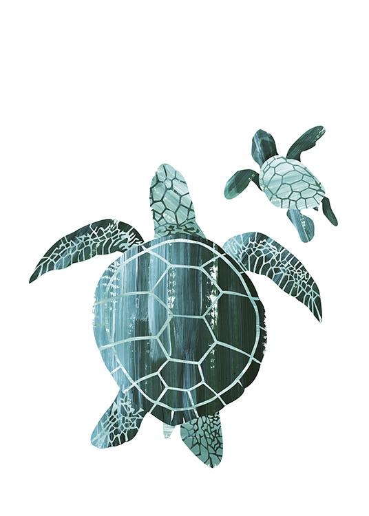 - Modern animal poster with two dark-green turtles on a white background