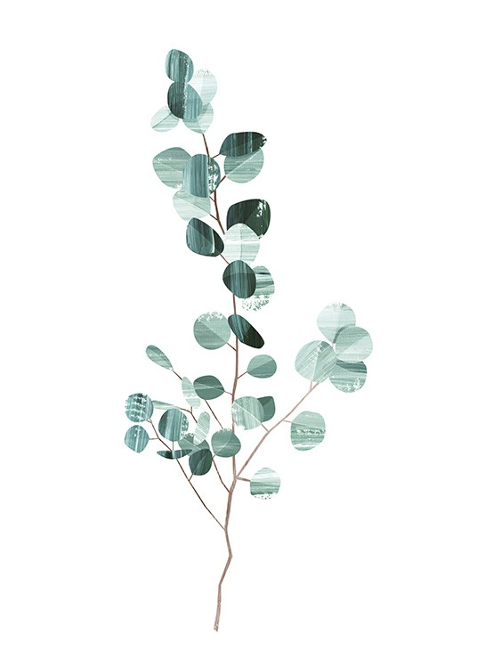 - Stylish graphic poster with a eucalyptus branch in dark green on a white background.