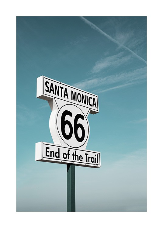 Route 66 Sign Poster / 50x70 cm | 19 ⅝ x 27 ½ in at Desenio AB (10778)