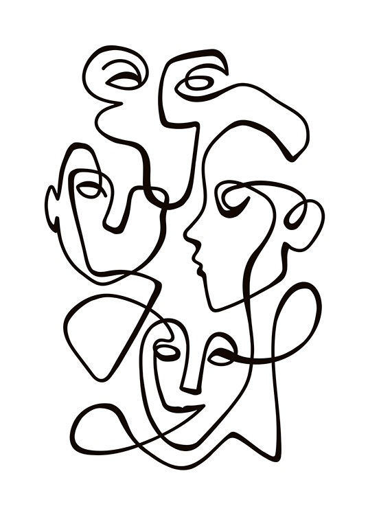 - Black and white art with a collective portrait of several people all connected by a line