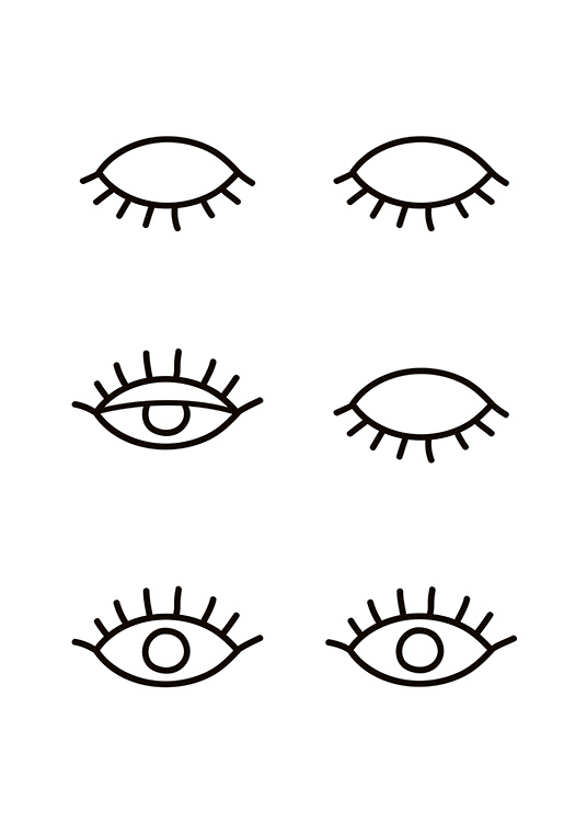 - Black and white drawing of various open and shut eyes with long lashes