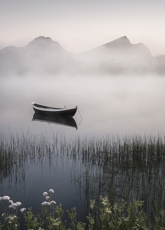 - Impressive landscape shot of a foggy summer night on a lakeside with a rowing boat.