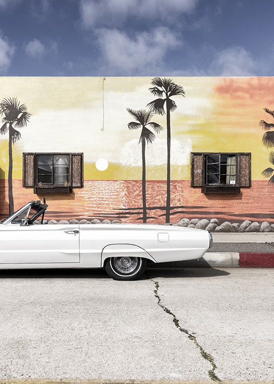 - Photo poster in vintage design of a Ford Thunderbird in front of an outside wall of a house painted with palms.