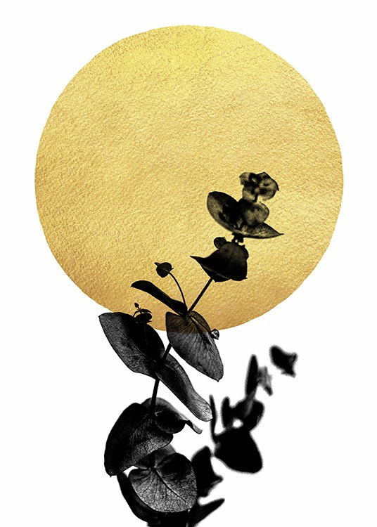 - Abstract art poster with a black-coloured plant in front of a golden circle and a white background