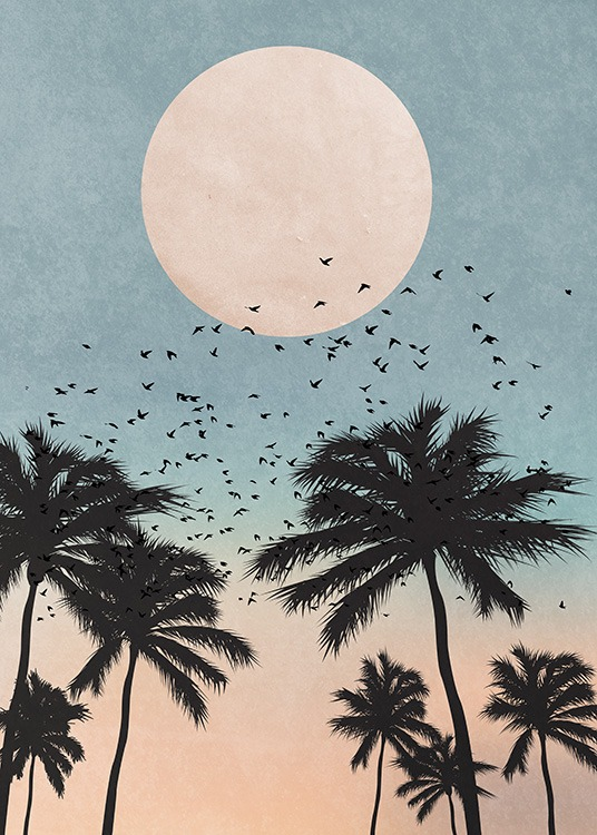 - Beautiful graphic poster with palm trees at dawn and a full moon in the sky.