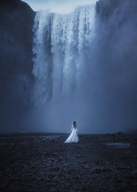- Impressive photo poster of a woman in a white dress looking up to a high waterfall.