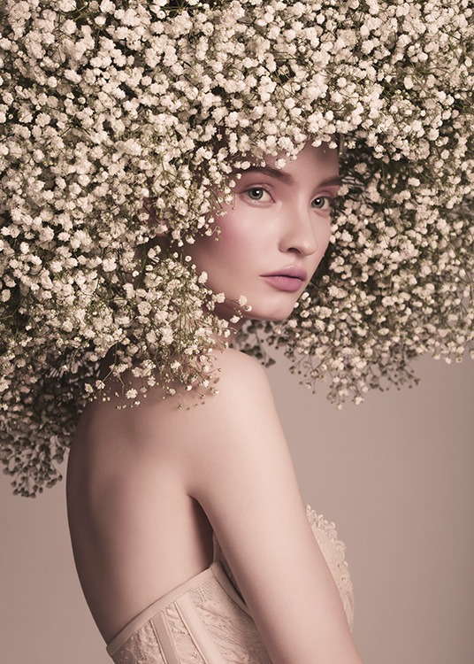 - Artistic photo poster of a young woman with a splendid head of flower hair