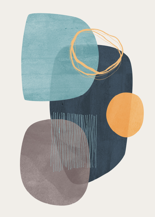 – Abstract graphic art with abstract shapes in blue and orange on a beige background