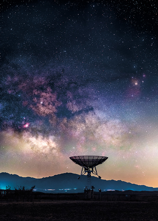 - Great photo poster of a stunning starry sky and a radio telescope.