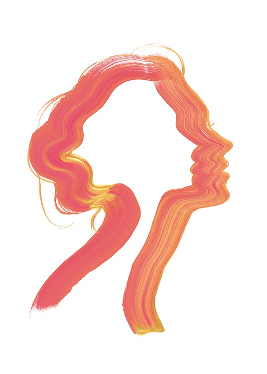 - Abstract illustration of a woman from the side, painted with just a single brushstroke