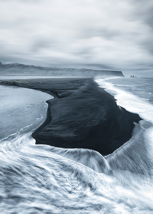 - Photo with a nature motif of a black volcanic beach