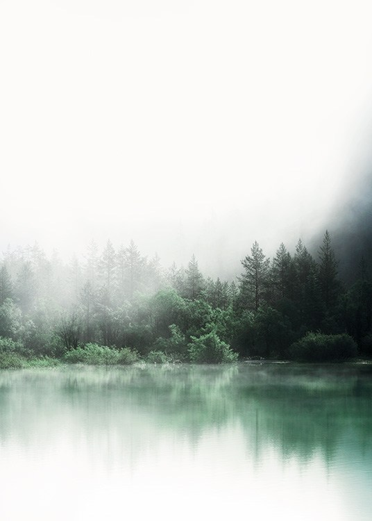 – Photograph of a lake in front of a forest with green trees reflecting in the lake