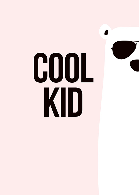 "- Minimalist children's poster with the words ""Cool kid"" for the coolest children's room"