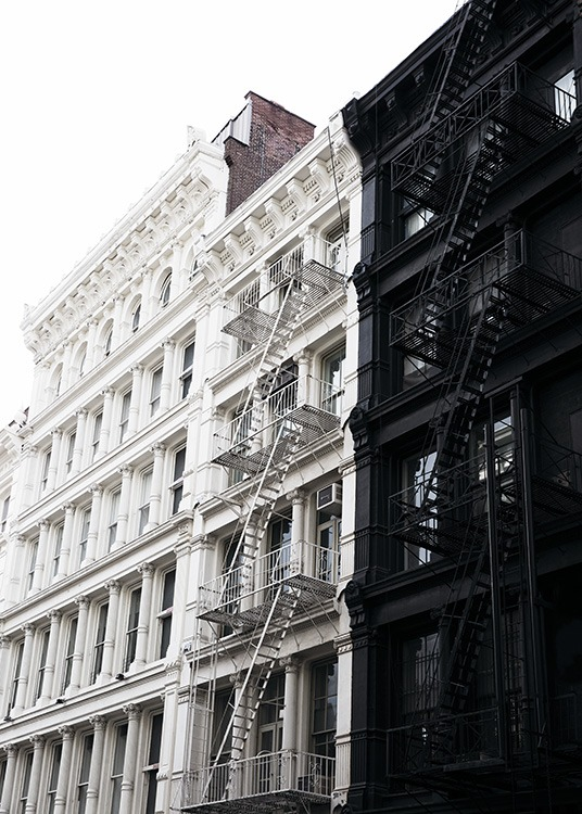 - Lovely shot of two houses in black and white in New York's Soho district.
