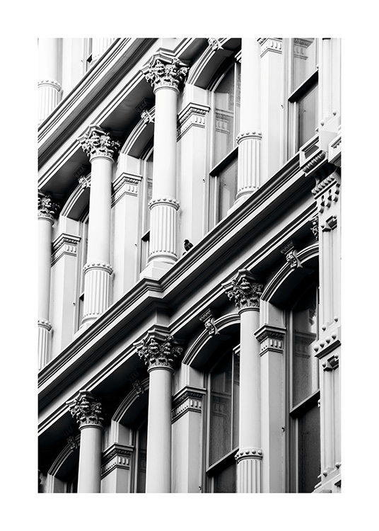 - Modern black and white photo poster showing an old building facade in New York's Soho district