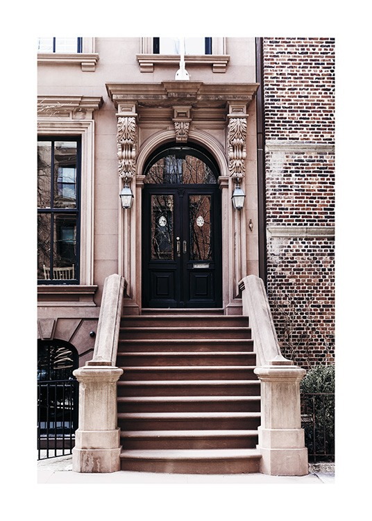 - Photo poster showing the stairs to a house entrance in Brooklyn, New York.