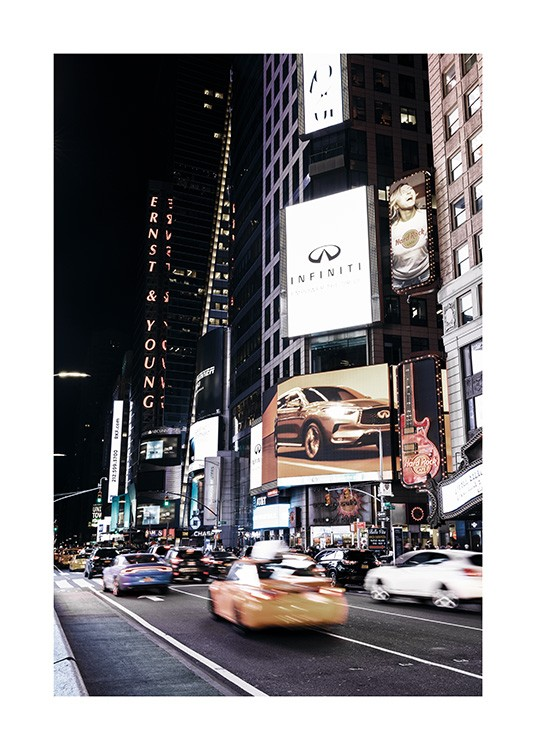 - Great photo poster showing the bustling Times Square in New York at night