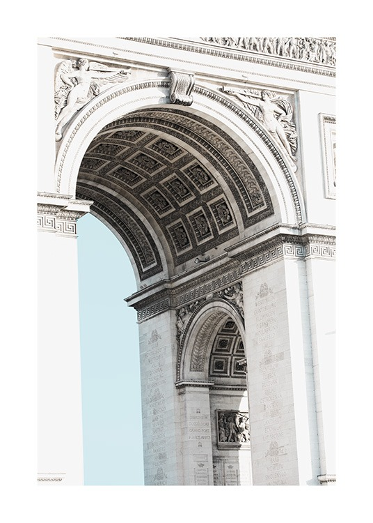 - Great close-up of the stylish and ornate Arc de Triomphe in Paris.
