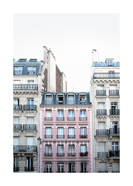 - Photo poster of a pink house facade in Paris.