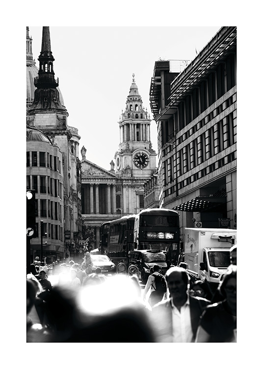 - Black and white snapshot of a busy street in central London.