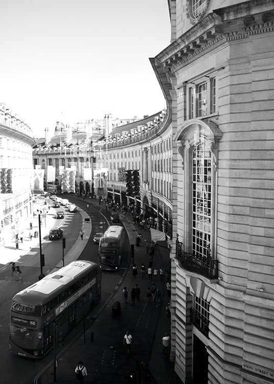 - Beautiful London poster showing lively Regent Street around midday in black and white.