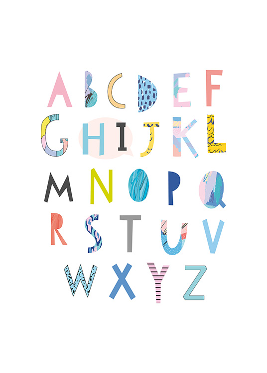 - Poster with a colourful alphabet suitable for the children's room and first graders.
