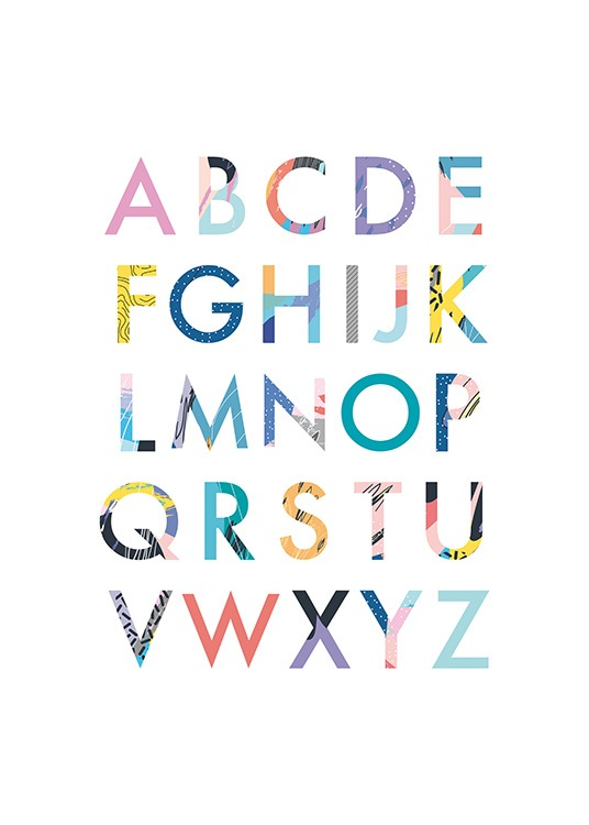 - Colourful alphabet for school beginners on a white background.