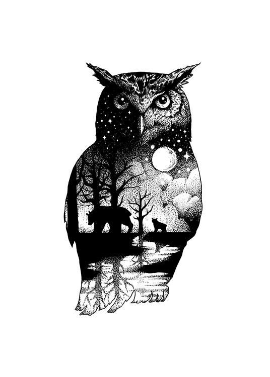 Ink Dot Owl Poster / Illustrations at Desenio AB (11418)
