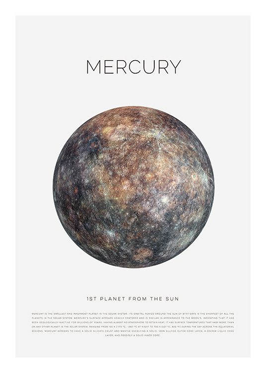 Planet Mercury Poster / Kids wall art at Desenio AB (11439)