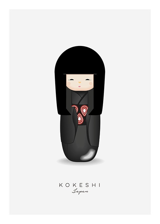 Kokeshi Doll Black Poster / Kids wall art at Desenio AB (11453)