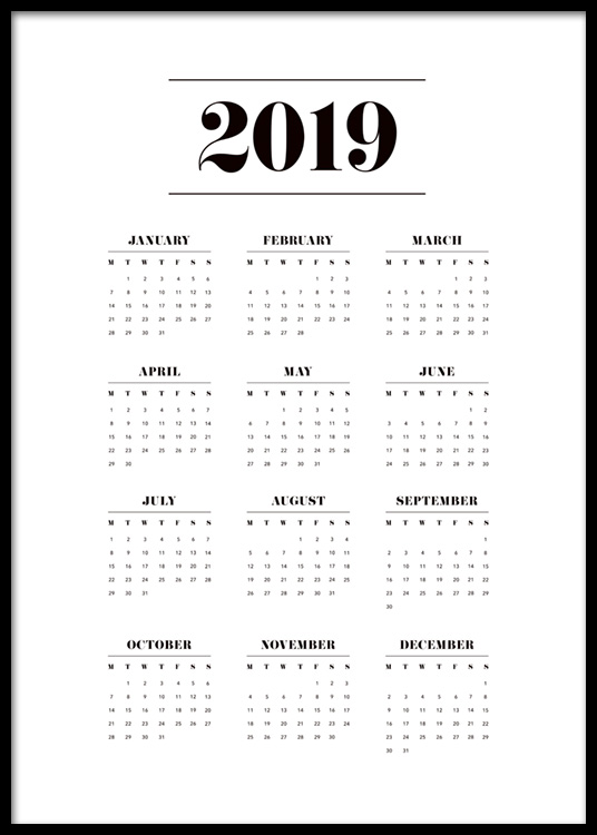 calendar 2019 poster. Black Bedroom Furniture Sets. Home Design Ideas