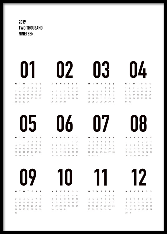 calendar 2019 b w poster. Black Bedroom Furniture Sets. Home Design Ideas