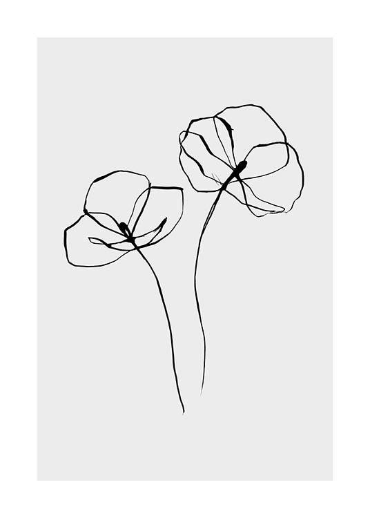 Line Flower No2 Poster / Black & white at Desenio AB (11766)