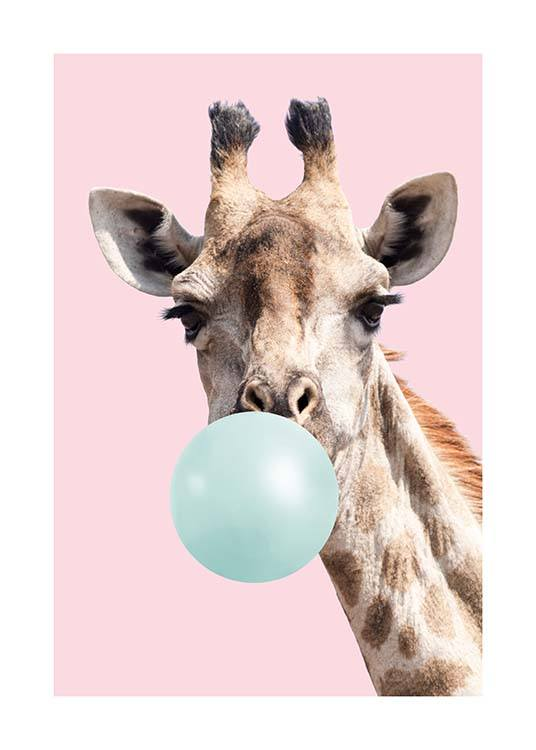 – Animal print with a giraffe with a blue bubblegum in its mouth on a pink background
