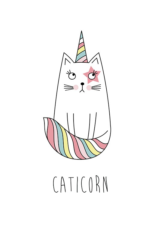 White Caticorn Poster / Kids wall art at Desenio AB (11899)