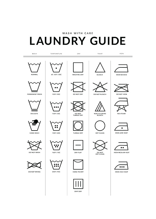 Laundry Guide Poster / Text posters at Desenio AB (12372)