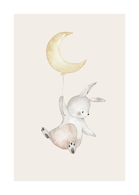 – Cute illustration of a flying bunny holding a balloon shaped like a moon